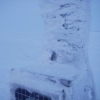 Icing buildup on datalogger box; D. Vaught photo